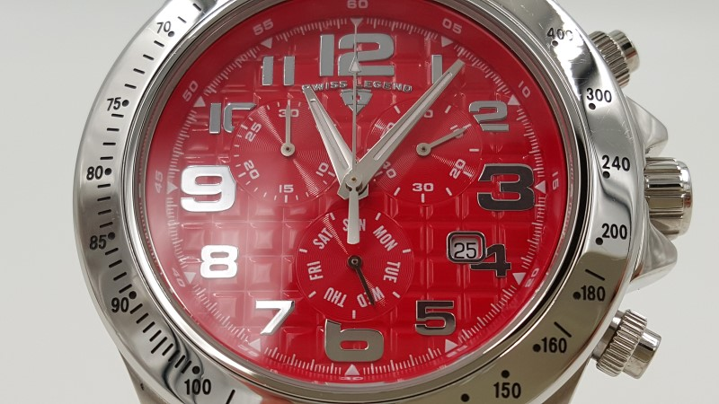 Men's Swiss Legend Eograph Red Dial Stainless Quartz Watch *As-Is*