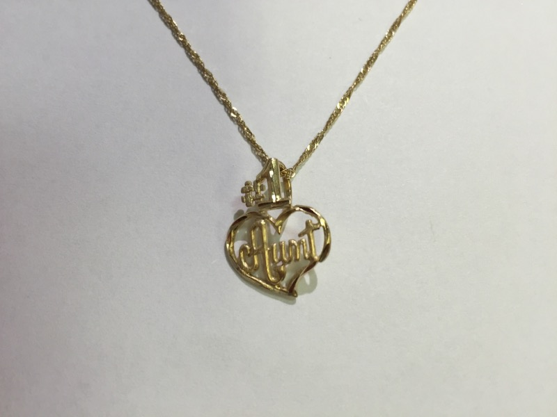 "20"" 14kt yellow gold twisted chain with number 1 aunt pendant"