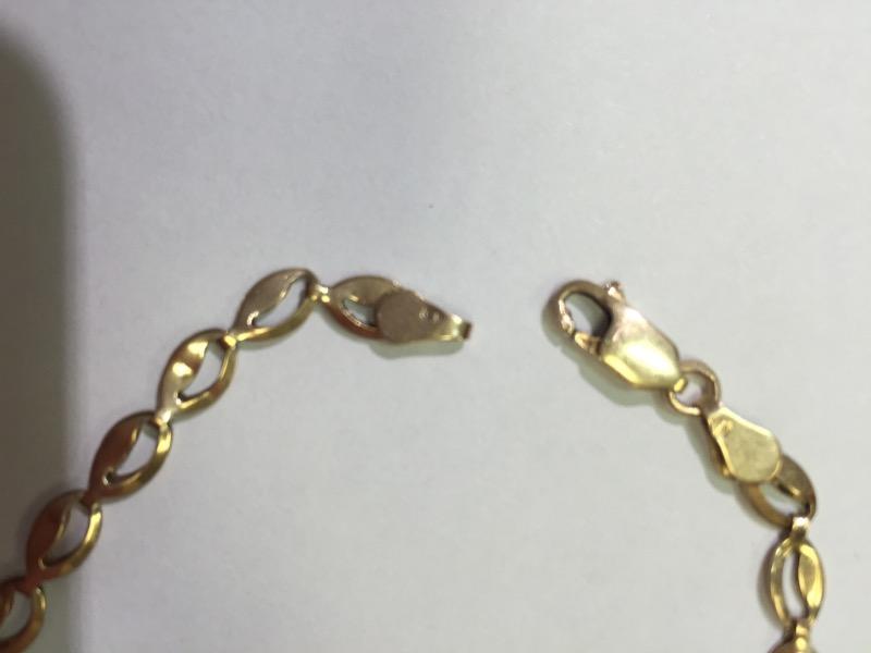"Ladies Gold Bracelet 14K Yellow Gold 3.5g 8"""