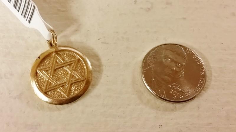 14K Yellow Gold Round Jewish Star of David & Jonah Rowing Pendant