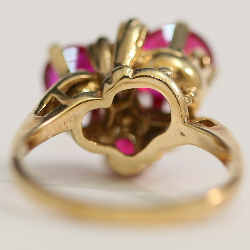 Synthetic Ruby Lady's Stone Ring 10K Yellow Gold Size:5.8