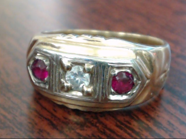 Red Stone Gent's Stone & Diamond Ring .17 CT. 14K Yellow Gold 5.8g Size:9