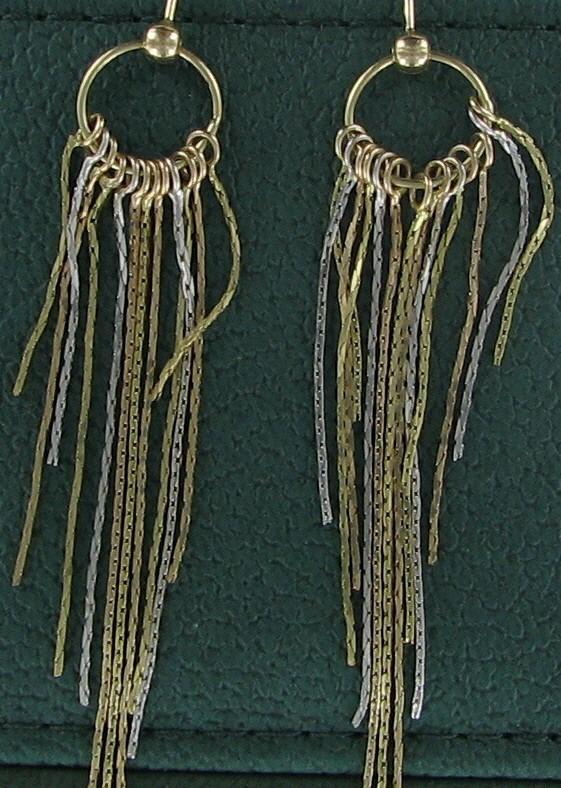 Gold Earrings 10K Tri-color Gold 3.1dwt