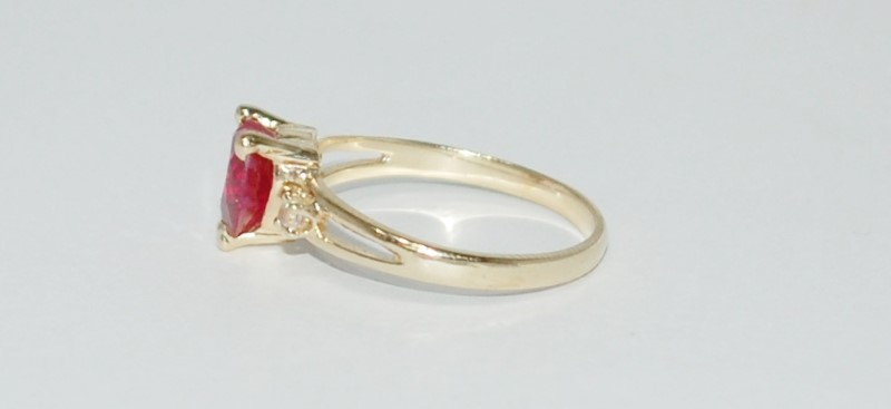 14K Yellow Gold Adorable Split Shank Heart Cut Created Ruby & CZ Accent Ring 6.5