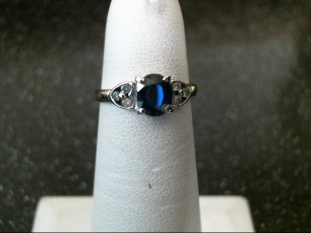 Sapphire Lady's Stone & Diamond Ring 6 Diamonds .06 Carat T.W. 14K White Gold