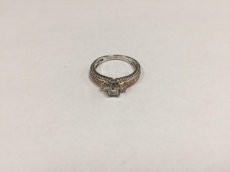 Lady's Diamond Engagement Ring 19 Diamonds .89 Carat T.W. 14K 2 Tone Gold 4g
