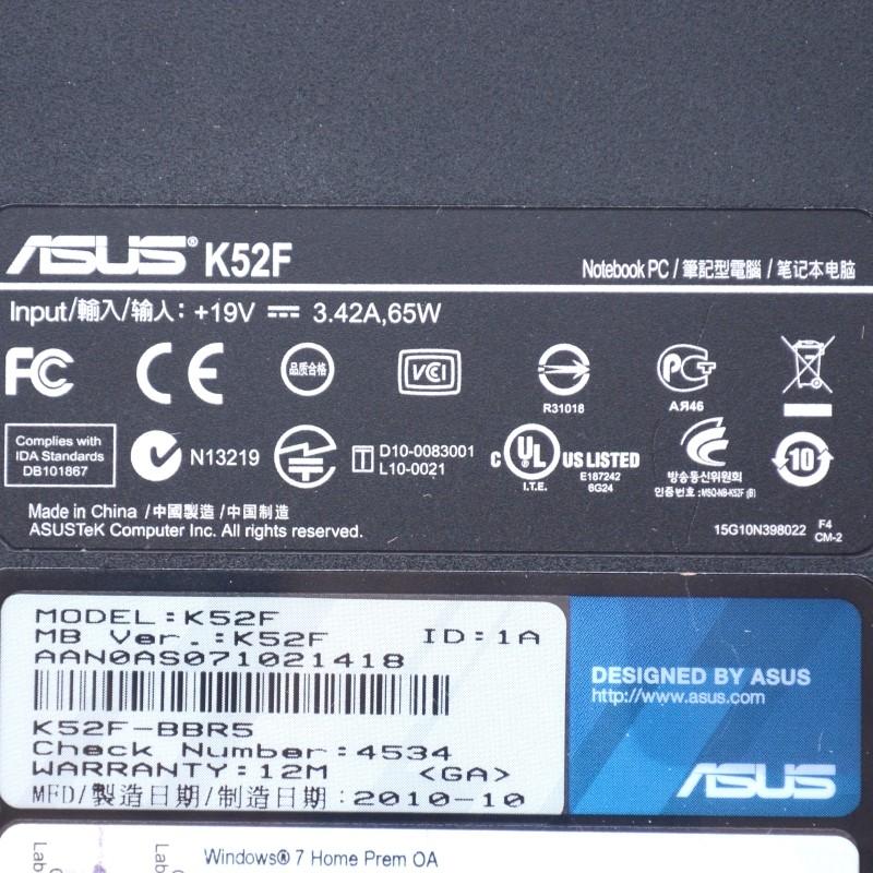 Asus K52F-BBR5 3GB RAM Intel Pentium P6100 2.00GHz 320GB HDD Laptop*