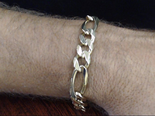 ESTATE FIGARO CHAIN BRACELET SOLID REAL 14K GOLD ITALY HEAVY 43g 9""