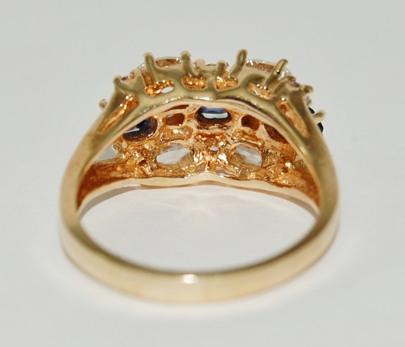 10K Yellow Gold Synthetic Sapphire & CZ Split Shank Cathedral Statement Ring 8
