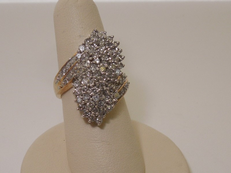 Lady's Diamond Cluster Ring 60 Diamonds 1.80 Carat T.W. 10K Yellow Gold 7.4g