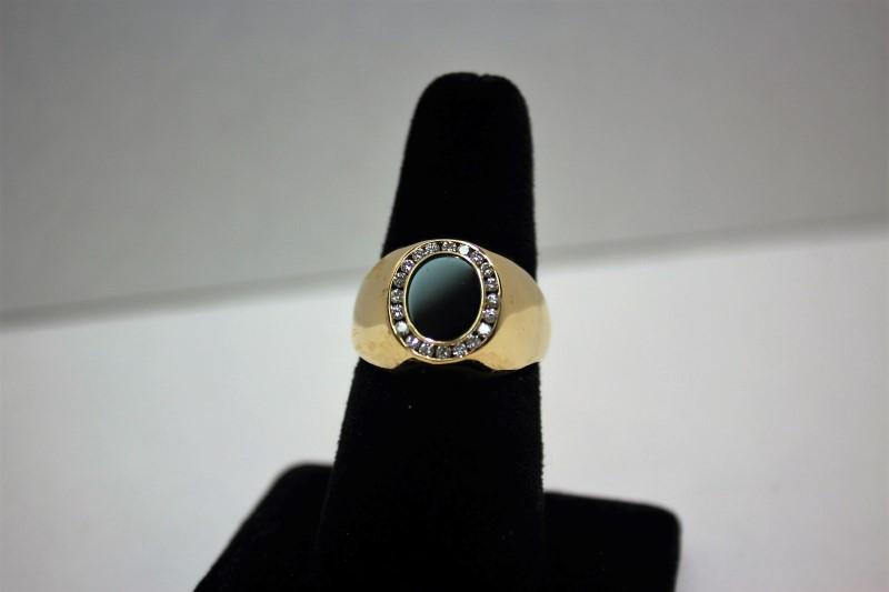 Onyx Gent's Stone & Diamond Ring 20 Diamonds .40 Carat T.W. 14K Yellow Gold