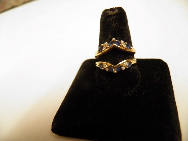 Sapphire Lady's Stone & Diamond Ring 8 Diamonds .16 Carat T.W. 14K Yellow Gold