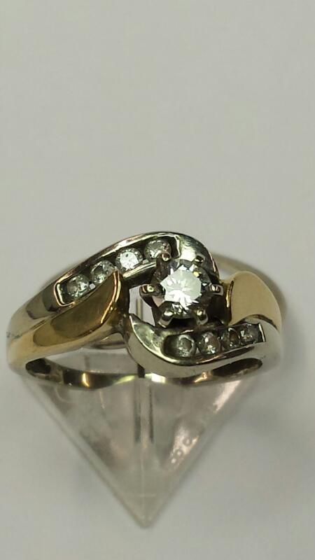 Lady's Diamond Wedding Set 9 Diamonds .32 Carat T.W. 10K 2 Tone Gold 3.2dwt