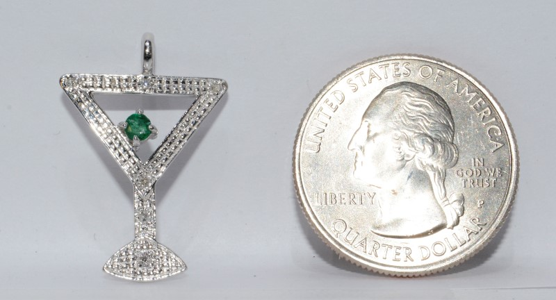 Adorable 14K White Gold Martini Glass Pendant w/ Diamond Stem & Emerald Olive