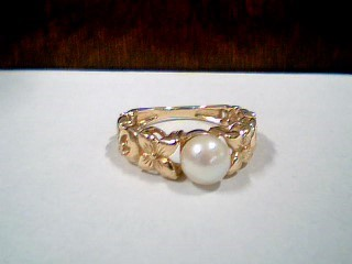 Synthetic Pearl Lady's Stone Ring 14K Yellow Gold 3.1g Size:6