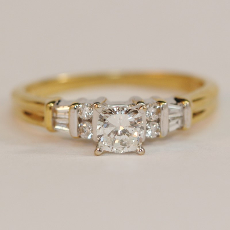 18K Yellow Gold Cathedral Set Cushion Cut Diamond Engagement Ring Size 6.5