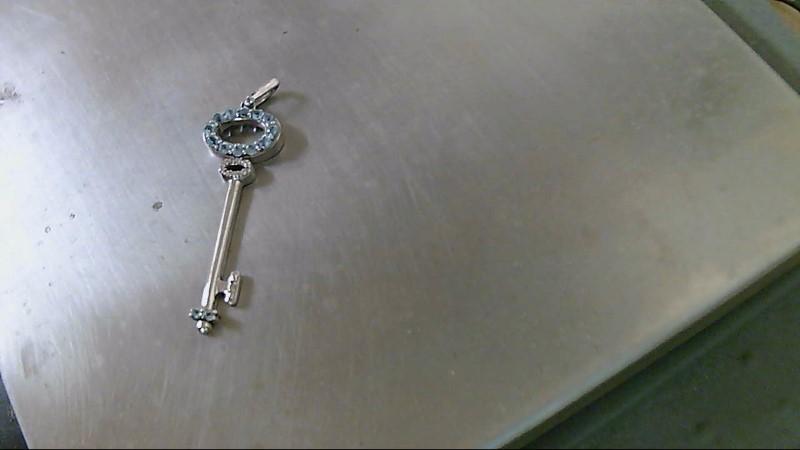 Blue Stone Silver-Diamond & Stone Pendant .005 CT. 925 Silver 2.3g