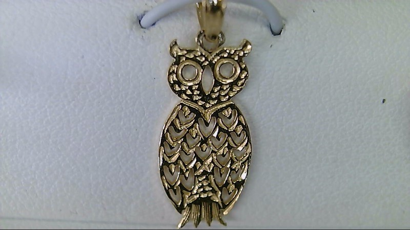 New 14K Yellow Gold Owl Pendant 0.74 G
