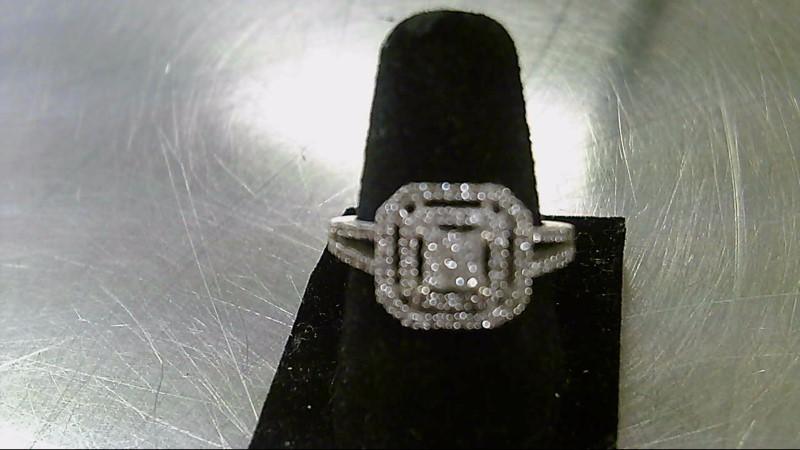 Lady's Diamond Cluster Ring 65 Diamonds .74 Carat T.W. 10K White Gold 3g