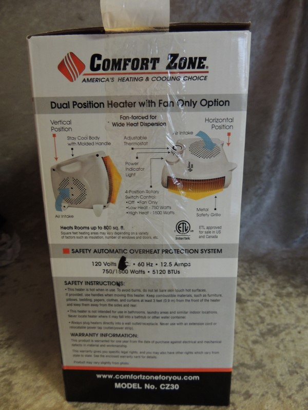 Comfort Zone Dual Position Heater/Fan 1500 Watts 5120 BTUs Model No. CZ30 NEW