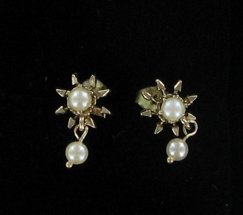 Synthetic Pearl Gold-Stone Earrings 14K Yellow Gold 1.3dwt