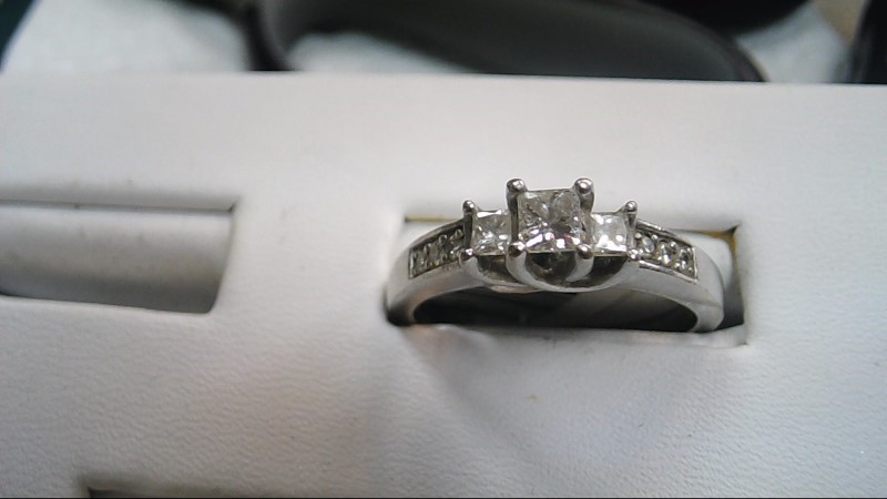 Lady's Diamond Solitaire Ring 9 Diamonds .61 Carat T.W. 10K White Gold 5.2g
