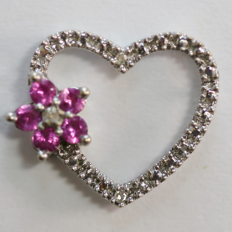 10K White Gold Pink Stone Flower & Diamond Heart Shaped Pendant
