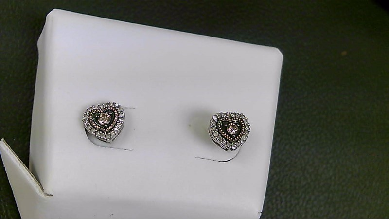 Silver-Diamond Earrings 42 Diamonds .60 Carat T.W. 925 Silver 1.6g