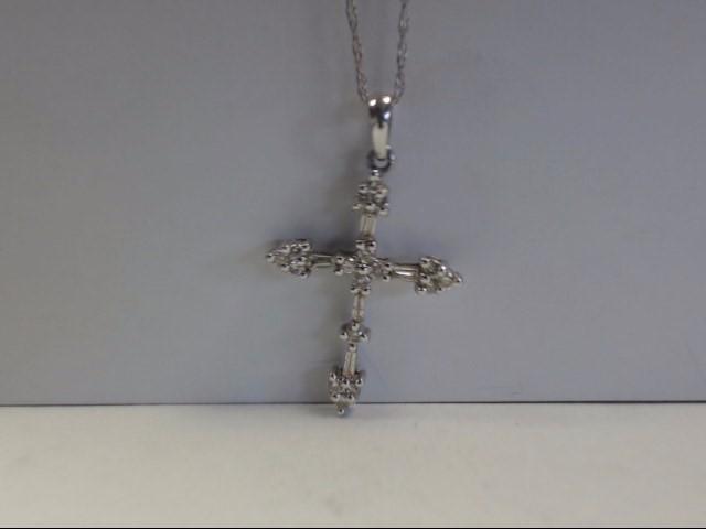 Gold-Multi-Diamond Pendant 22 Diamonds .44 Carat T.W. 10K White Gold 2.5g