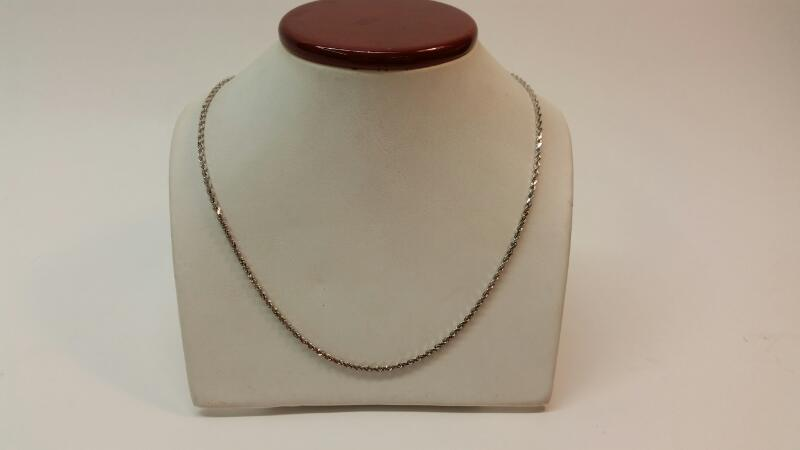 "14k White Gold 18"" Rope Chain"