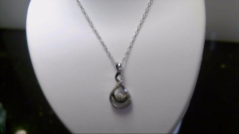 lady's sterling silver 925 fancy diamond necklace