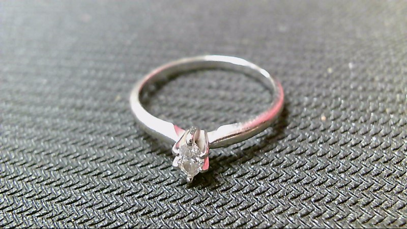 Lady's Diamond Solitaire Ring .20 CT. 10K White Gold 1.8g