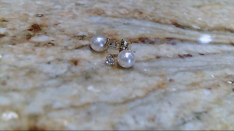 Pearl Gold-Diamond & Stone Earrings 2 Diamonds .06 Carat T.W. 14K Yellow Gold