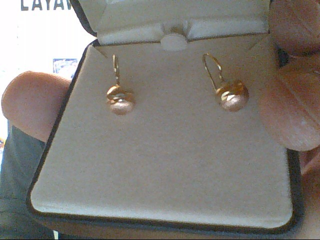 Gold Earrings 14K 2 Tone Gold 1.3g