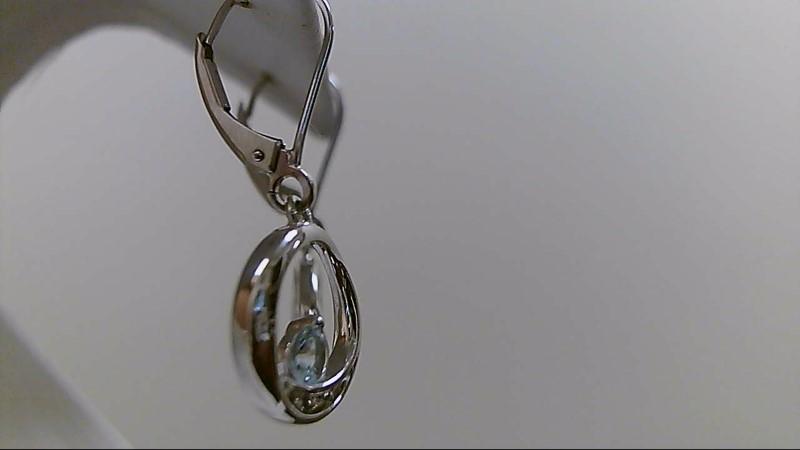 Aquamarine Gold-Diamond & Stone Earrings 6 Diamonds .06 Carat T.W.