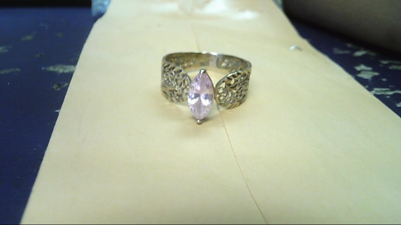 Pink Stone Lady's Stone Ring 10K Yellow Gold 3g