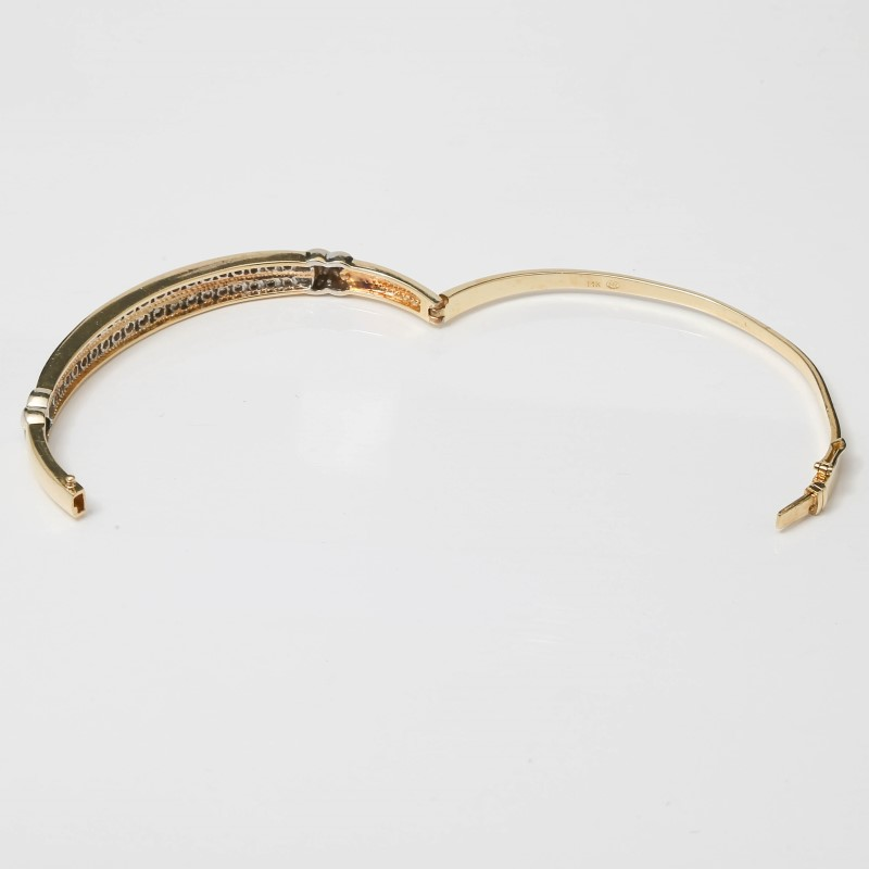 14K Yellow Gold Dual Channel Set Round Brilliant Diamond Bracelet