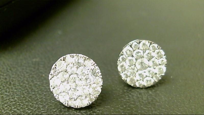 Gold-Diamond Earrings 38 Diamonds 3.52 Carat T.W. 14K White Gold 3.4g