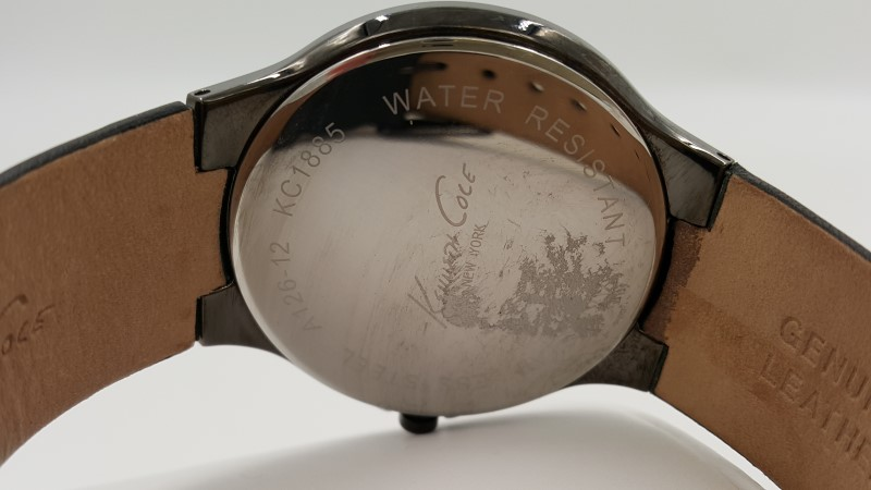 Men's Kenneth Cole Black Quartz Leather Band Watch KC1885 As-Is