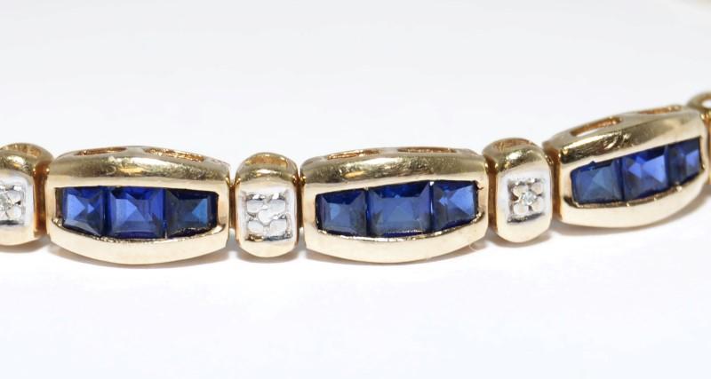 "7"" 10K Yellow Gold Channel Set Sapphire & Diamond Tennis Style Bracelet"