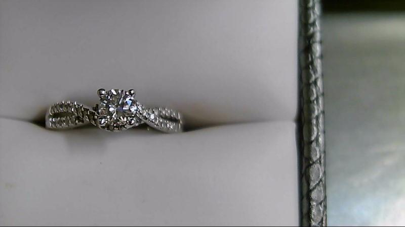 Lady's Diamond Engagement Ring 37 Diamonds .64 Carat T.W. 14K White Gold 3.1g