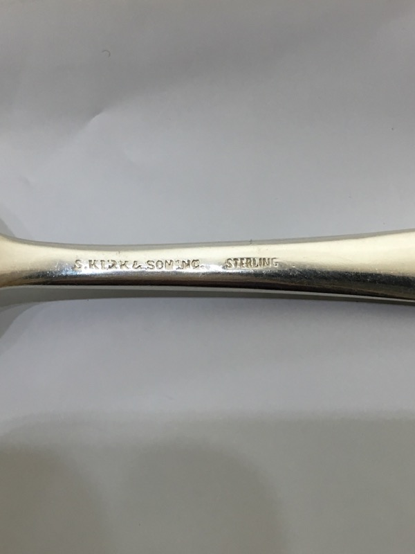 "Kirk Stieff 7 1/4"" Sterling Silver Repousse Fork c. 1828 NO MONO"