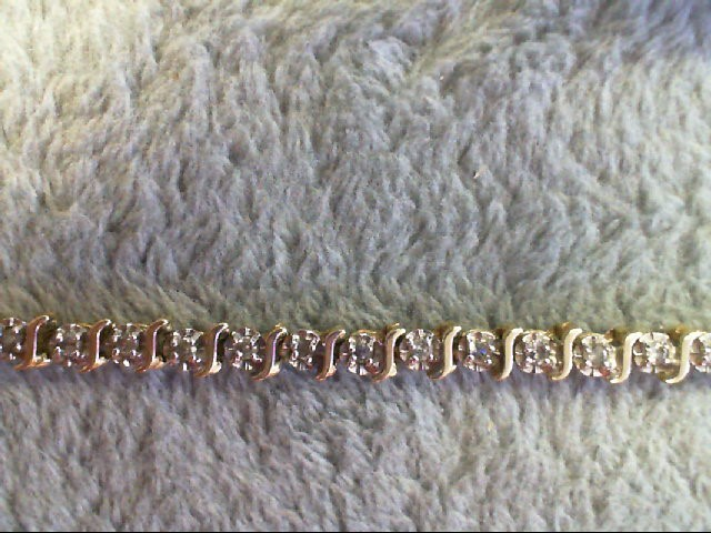 Gold-Diamond Bracelet 44 Diamonds .44 Carat T.W. 10K Yellow Gold 5.7g