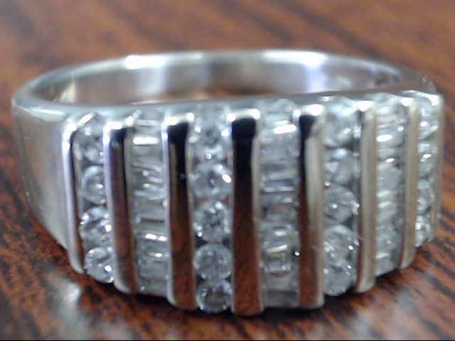 VINTAGE NATURAL DIAMOND CLUSTER RING BAND SOLID 14K WHITE GOLD SZ 7