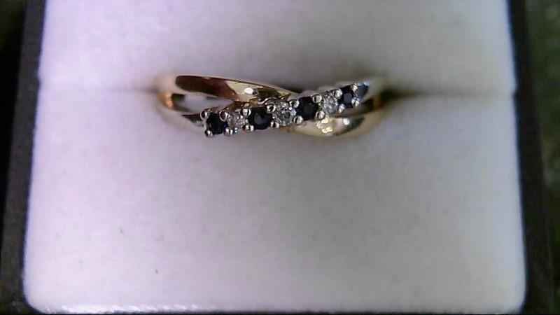 Sapphire Lady's Stone & Diamond Ring 3 Diamonds .03 CTTW 10K Yellow Gold