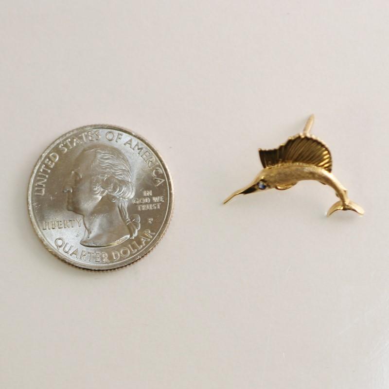 14K Yellow Gold Sailfish Pin