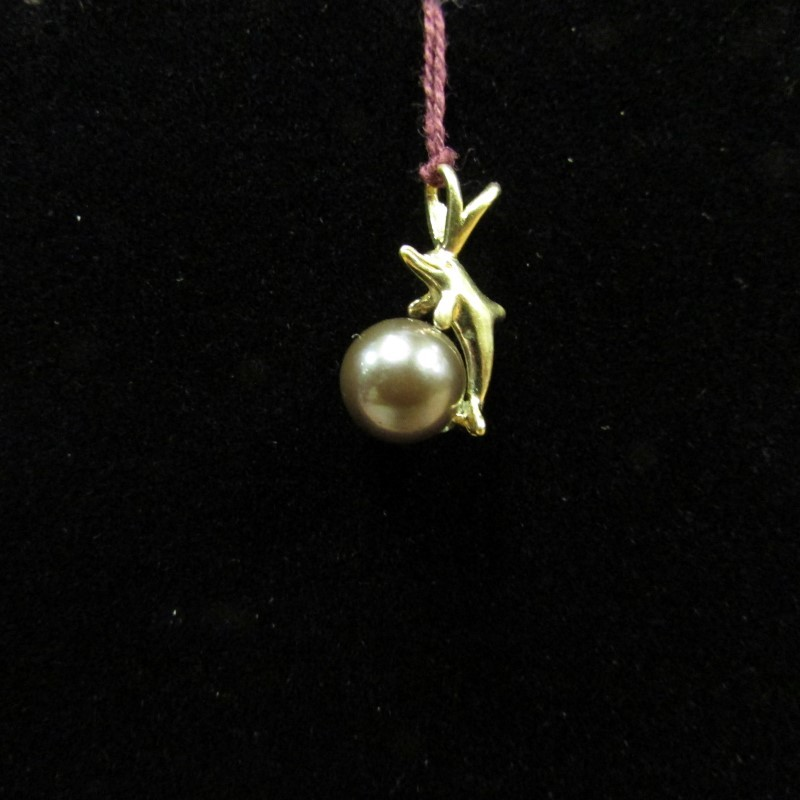Synthetic Pearl Gold-Stone Pendant 14K Yellow Gold 1.1g
