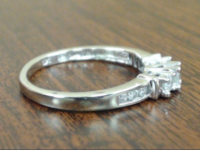 VINTAGE NATURAL DIAMOND ENGAGE WED RING SOLID 10K WHITE GOLD SZ 5.5