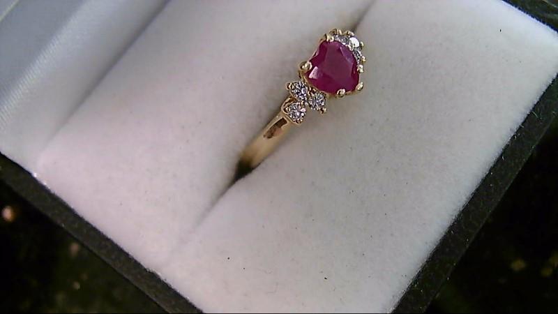 Heart Ruby Lady's Stone & Diamond 14K Yellow Gold Ring