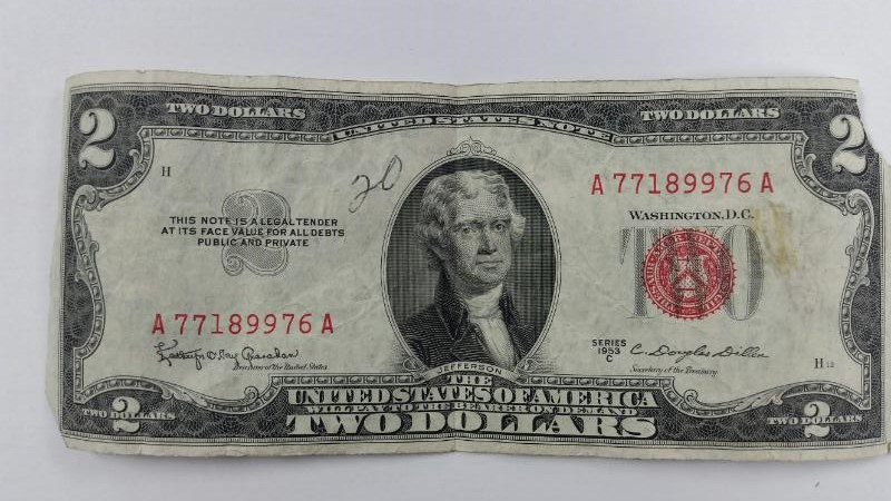 1953 C Two Dollar $2 Bill Red Seal (Thomas Jefferson)